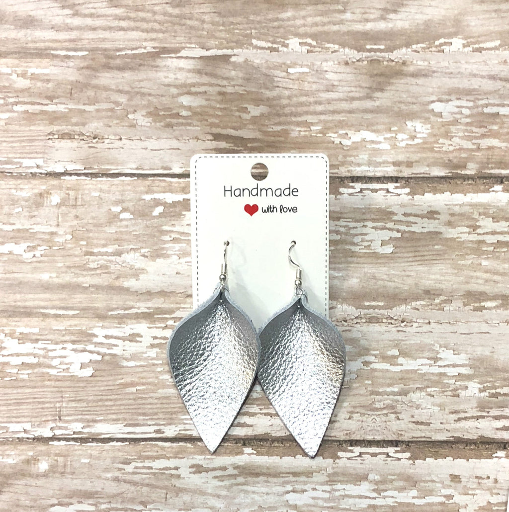 Silver Metallic Petal Drop Leather Teardrop Earrings