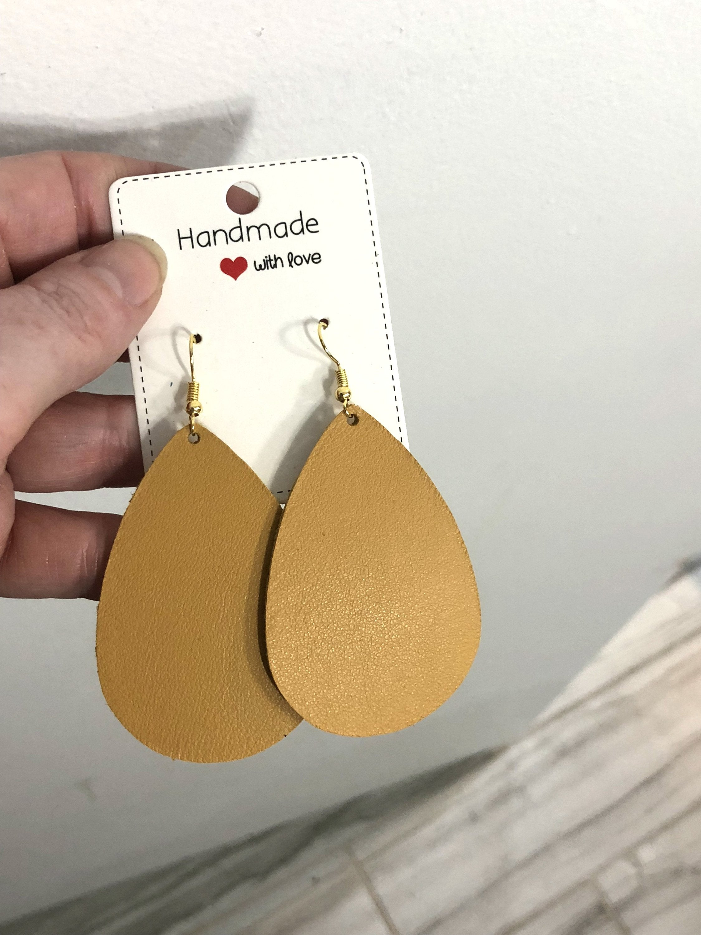 Yellow Sunflower Teardrop Drop Leather Earrings