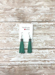 Hunter Green Silver Faux Suede Tassel Earrings