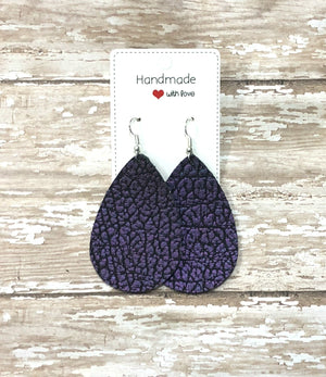 Purple Crackle Buffalo Leather Teardrop Drop Earrings