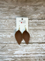 Cognac Brown Camel Petal Drop Leather Teardrop Earrings