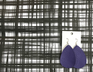 Ultra Violet Purple Teardrop Drop Leather Earrings