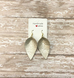 Champagne Gold Silver Petal Drop Leather Teardrop Earrings