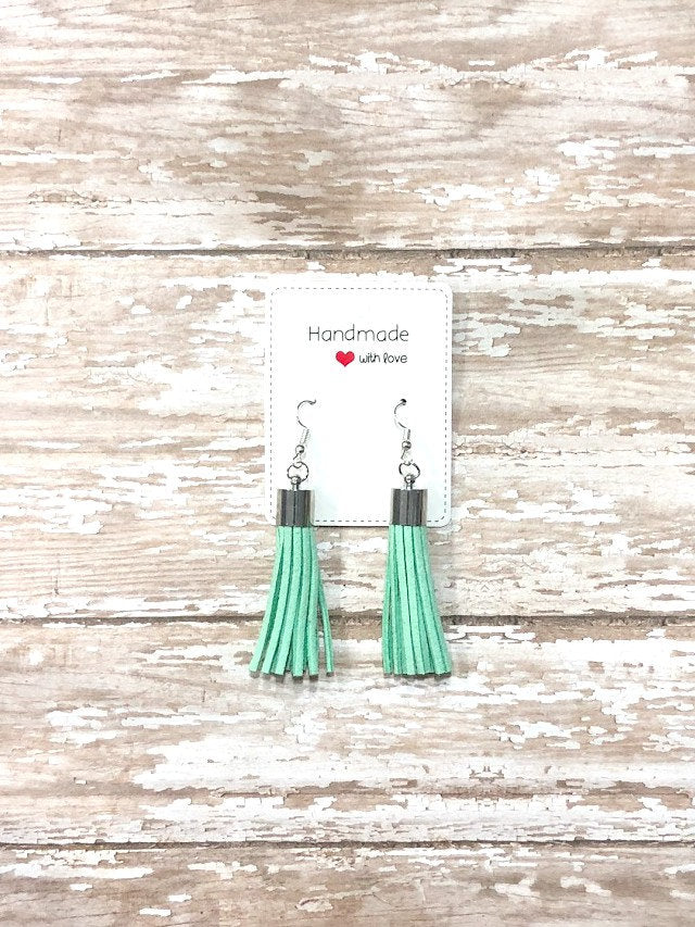 Mint Green Silver Faux Suede Tassel Earrings