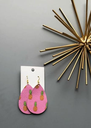Pineapple Pink Teardrop Drop Leather Earrings