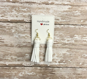 White Thick Suede Leather Tassel Earrings