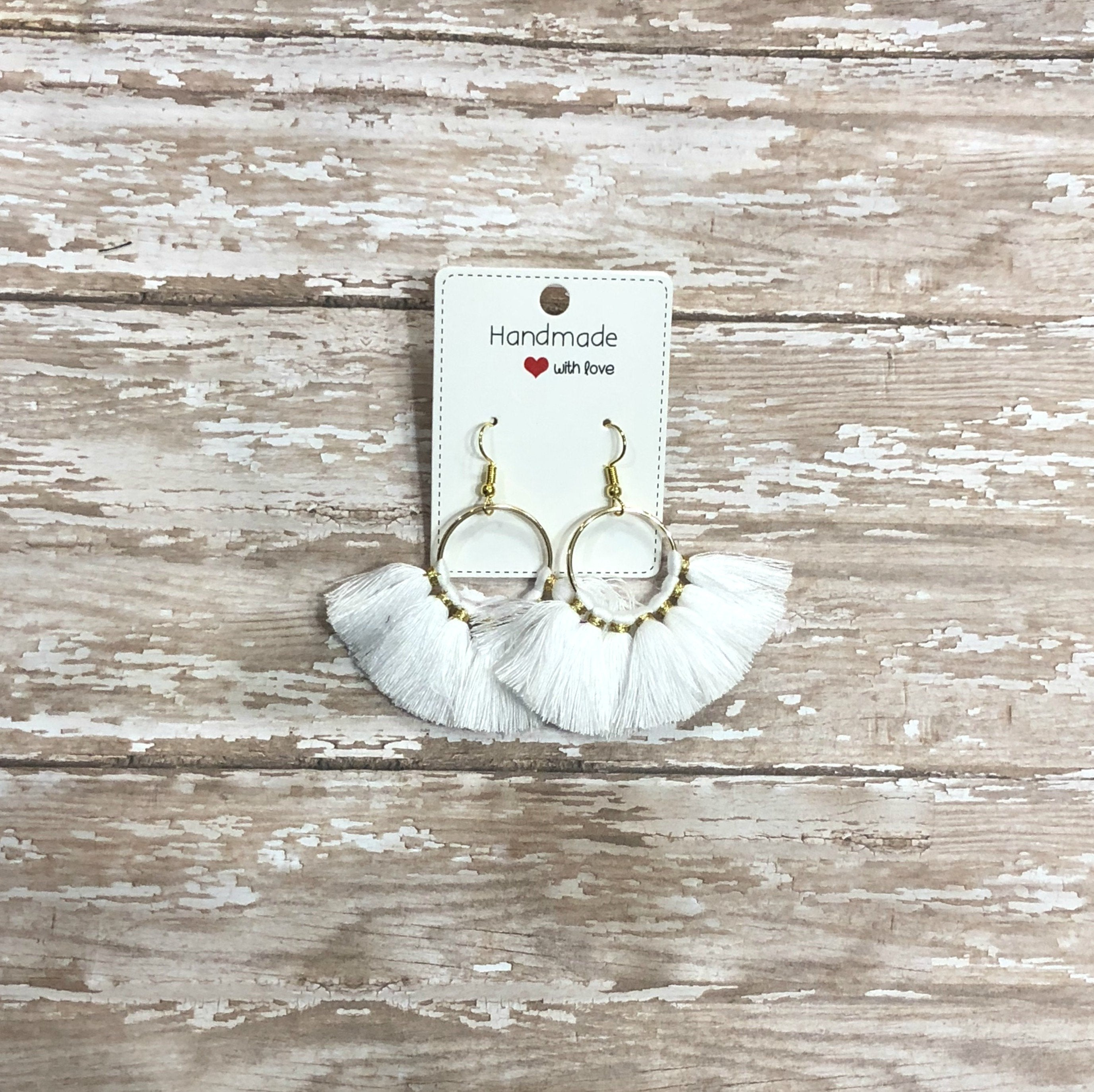 White Fan Fringe Circle Tassel Statement Earrings