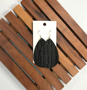 Black Basketweave Woven Fishtail Teardrop Drop Leather Earrings