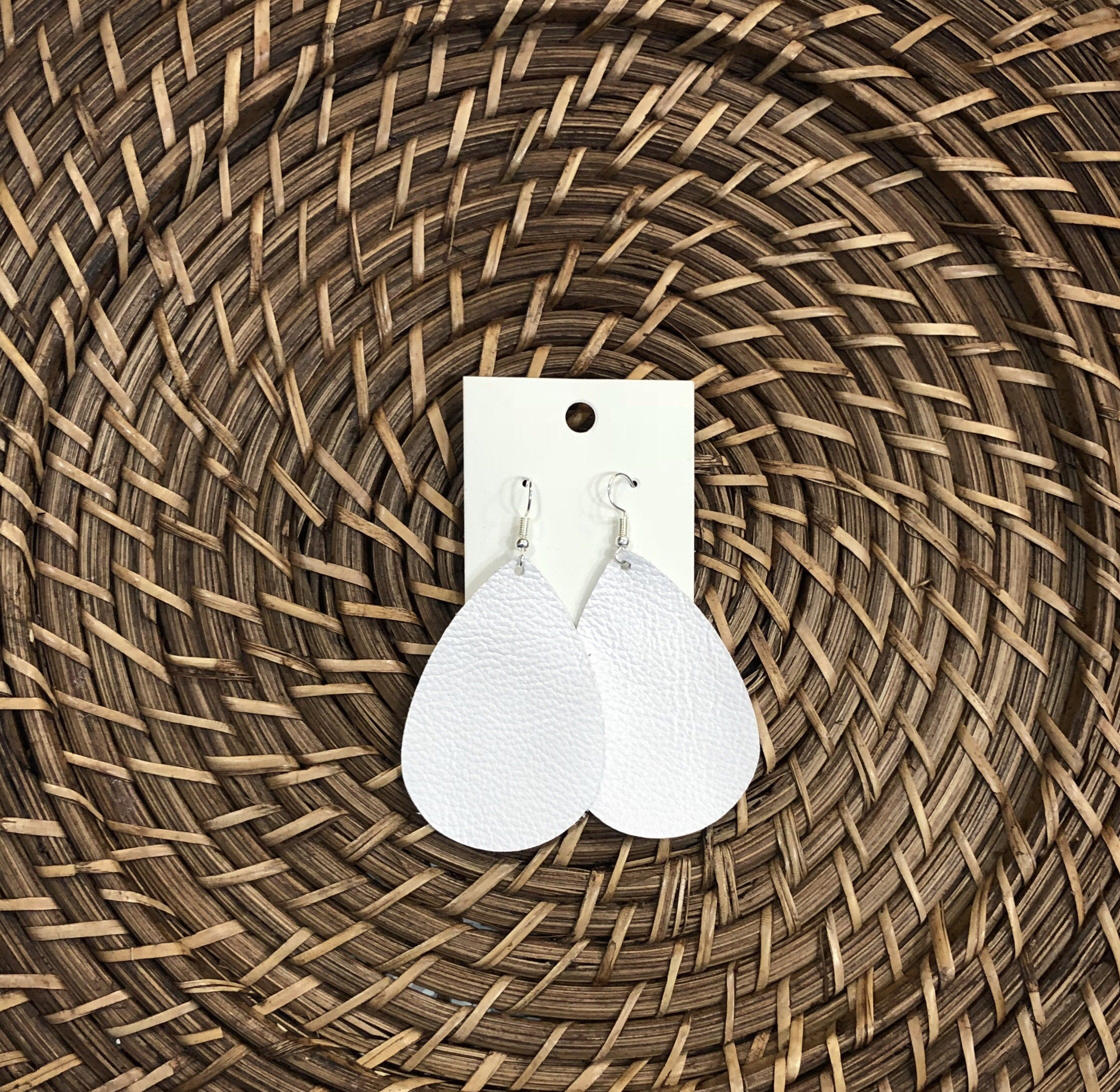 White Teardrop Drop Leather Earrings