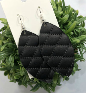 Black Diamond  Marquis Petal Drop Leather Earrings