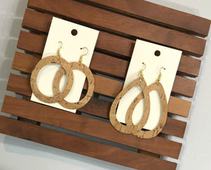 Natural Cork Leather Corkleather Circle Cutout Cut Out Sihouette Leather Drop Earrings
