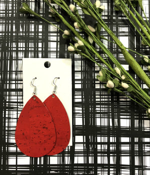 Red Cork Corkleather  Leather Teardrop Drop Earrings