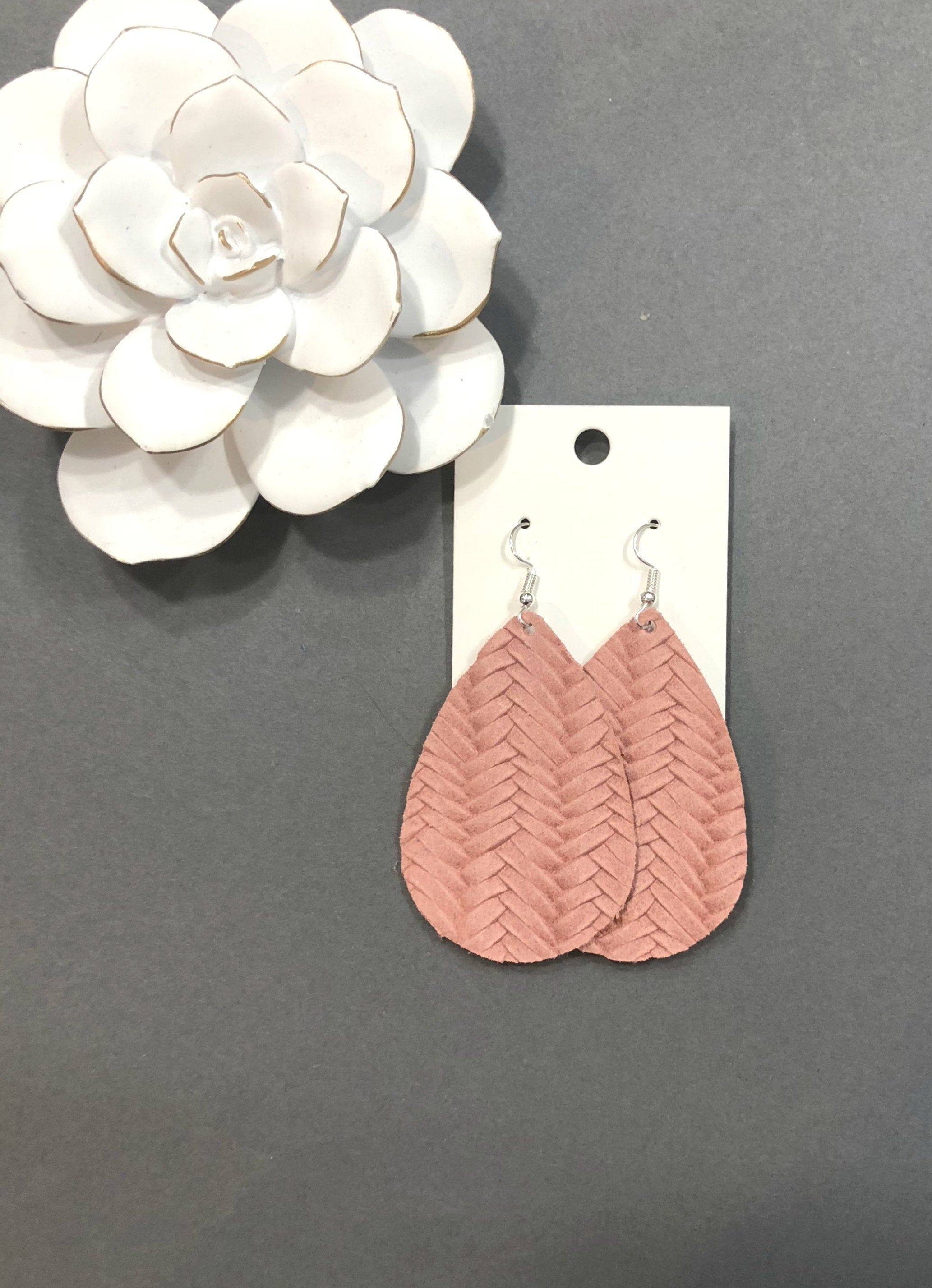 Dusty Rose Pink Blush Basketweave Woven Fishtail Teardrop Drop Leather Earrings
