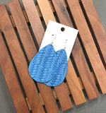 Bright Blue Basketweave Woven Fishtail Teardrop Drop Leather Earrings