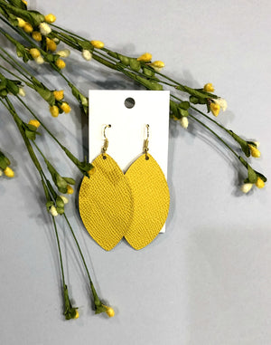 Dandelion Yellow Marquis Petal Drop Leather Earrings