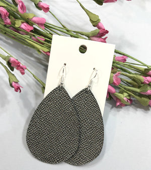 Gunmetal Gray Grey Metallic Saffiano Leather Teardrop Drop Earrings