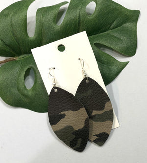Camo Camouflage Marquis Petal Drop Leather Earrings