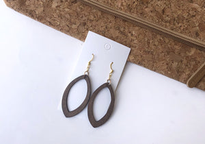 Wood Marquis Silhouette Earrings