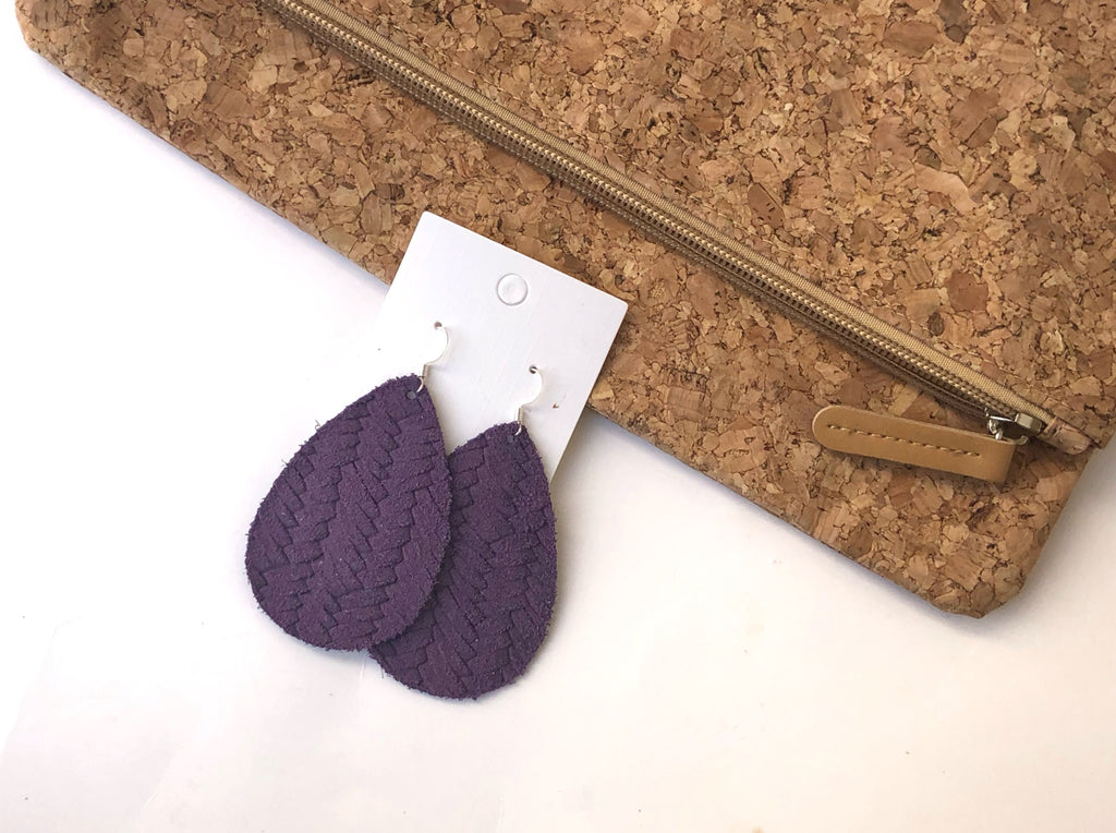 Dark Purple Woven Suede Earrings