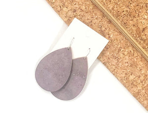 Dusty Lavender Cork Bonded with Leather Teardrop