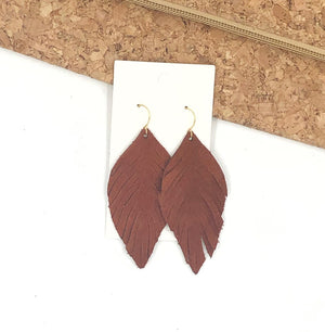 Rust Suede Leaf Fringe Earrings