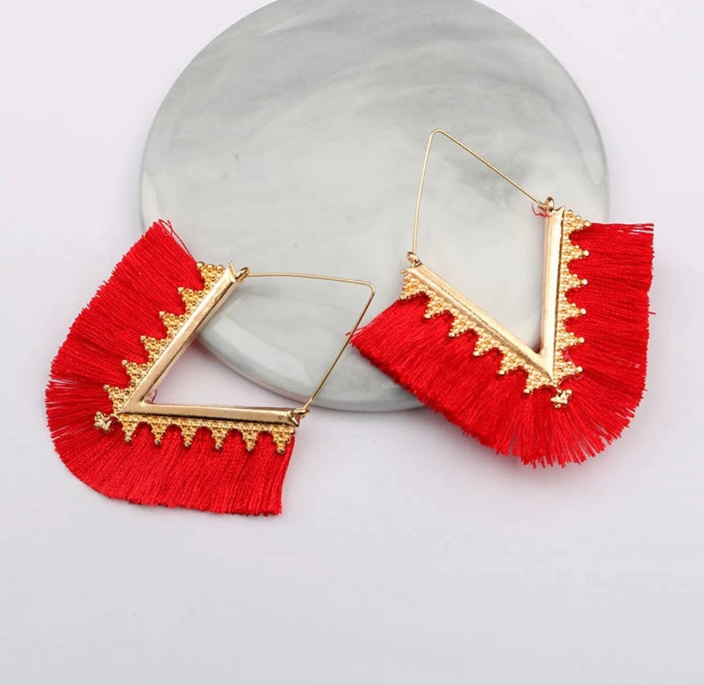Red Diamond Fringe Earrings
