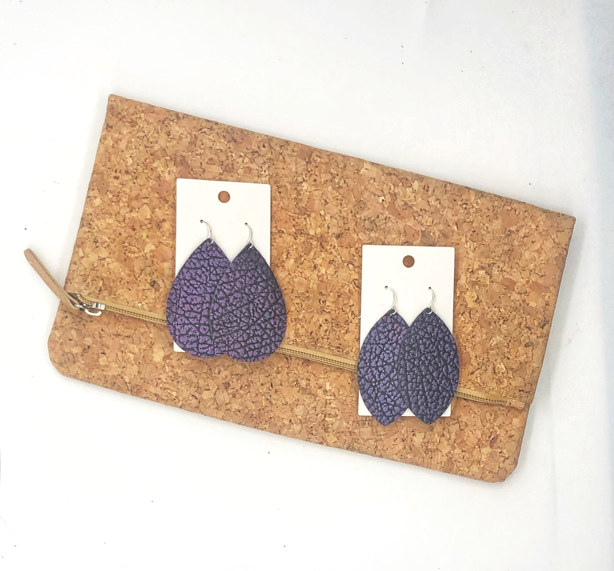 Purple Crackle Leather Teardrop Earrings