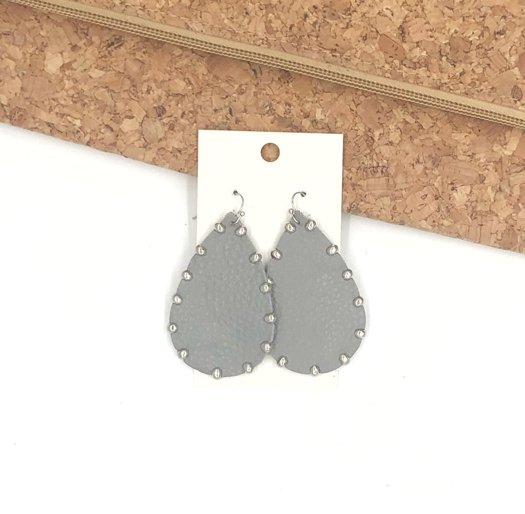 Grey Studded Leather Earrings