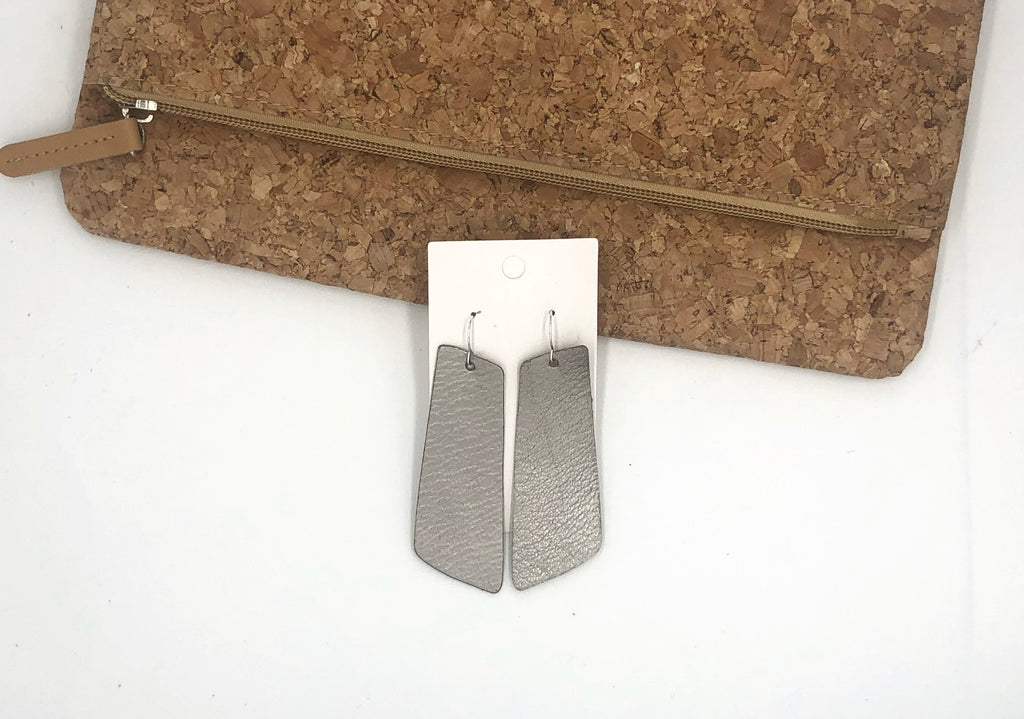 Gunmetal Stiletto Leather Earrings