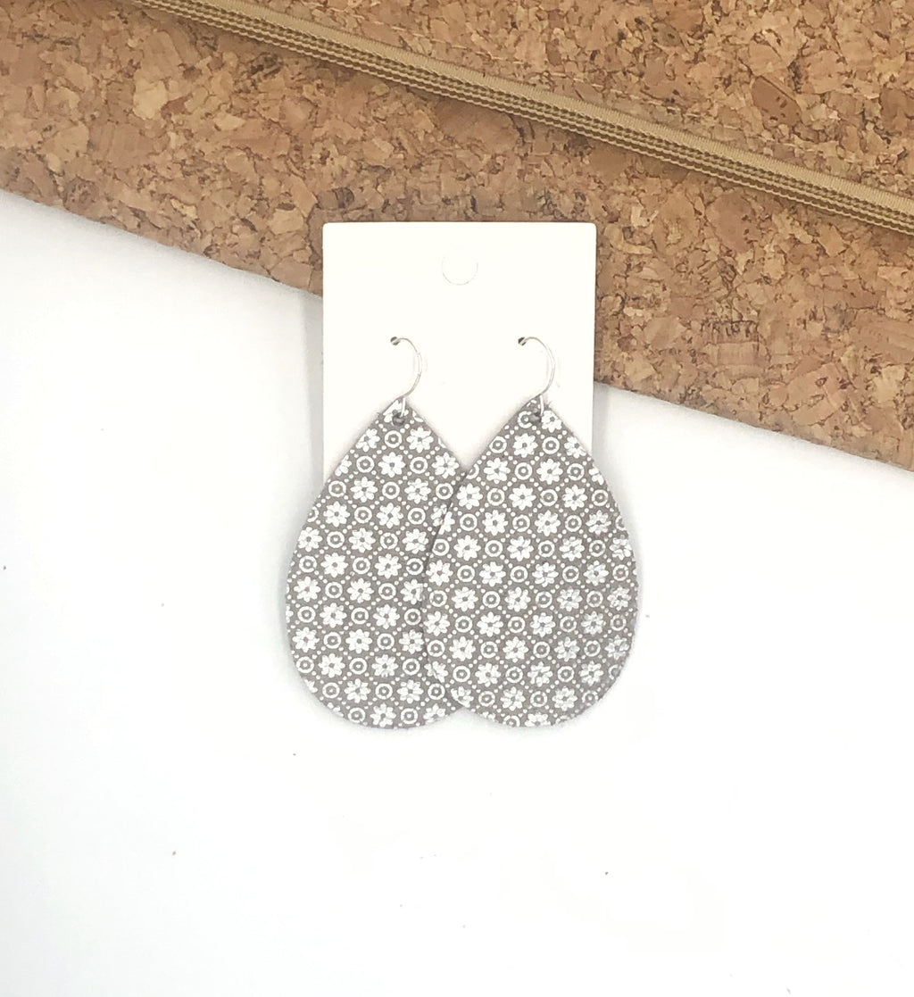 Silver Floral Leather Teardrop