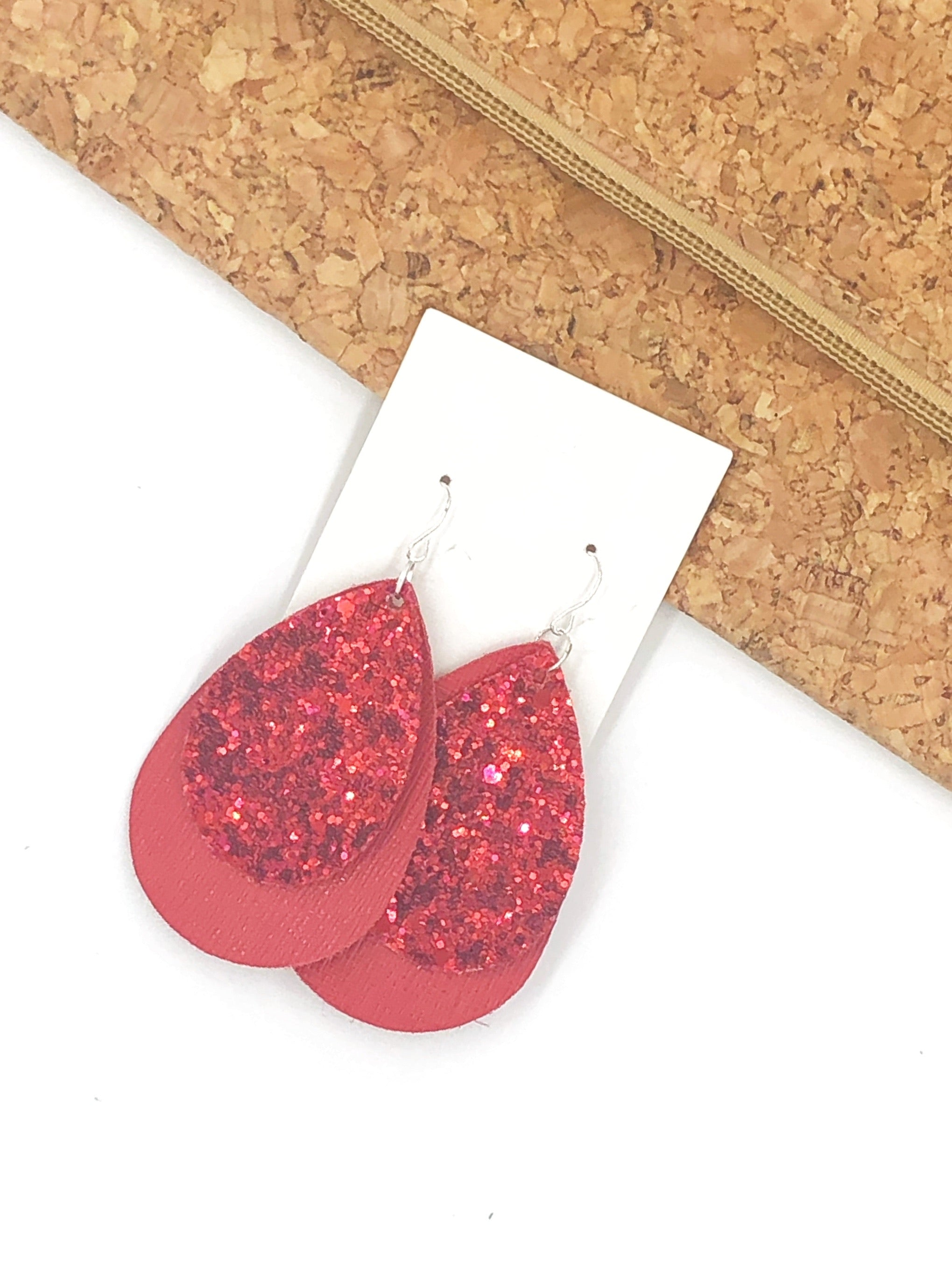 Red Glitter Layered Teardrop