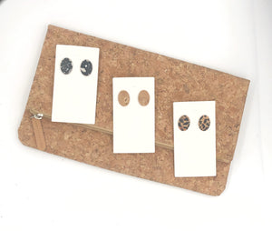 Gold Cork Oval Leather Studs