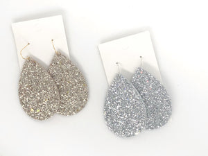 Silver Glitter and Leather Teardrop