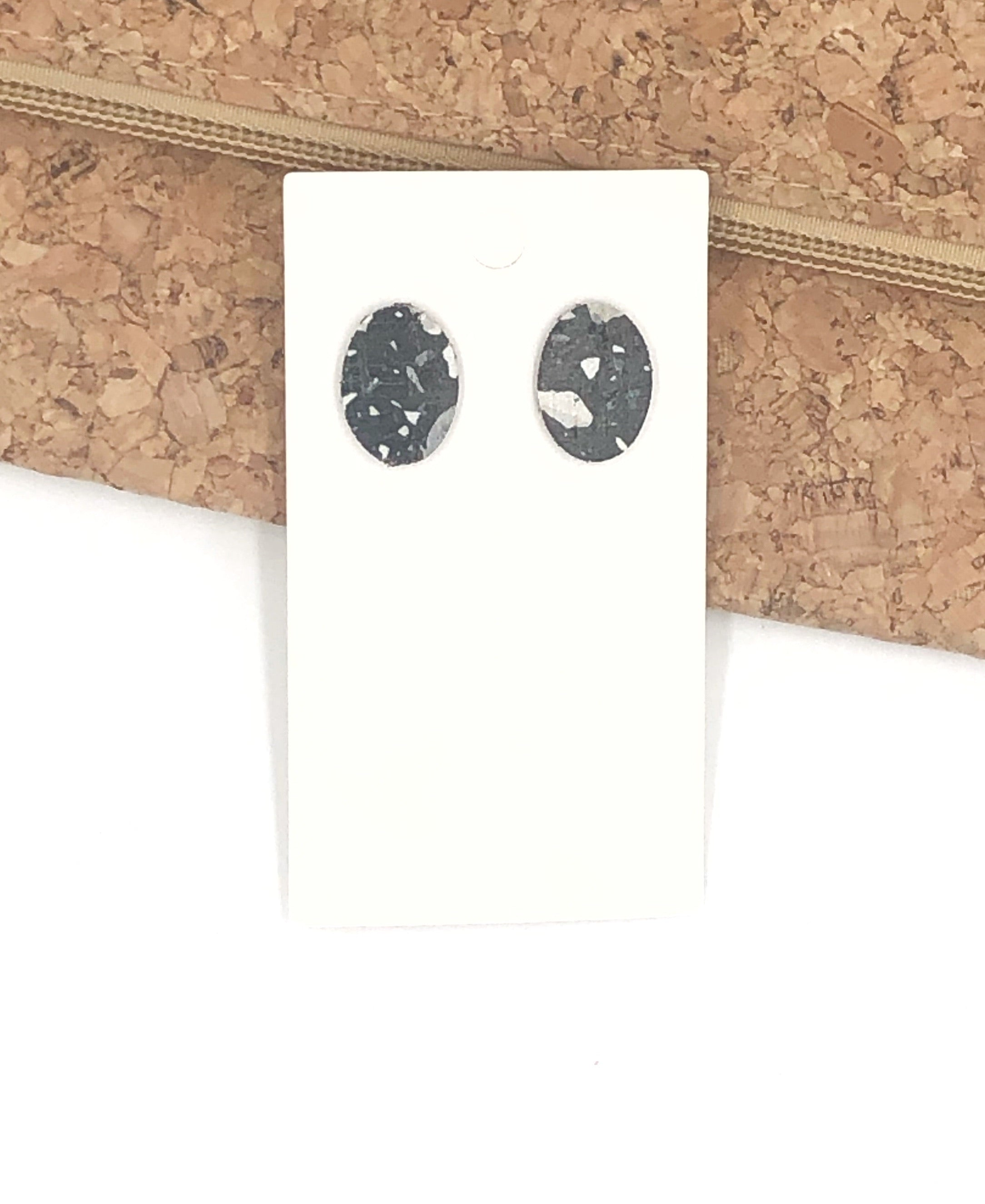 Black Mosaic Oval Leather Studs