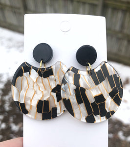 Black and Ivory Crescent Acrylic Earrings