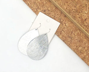 Silver Saffiano Leather Teardrop Drop Earrings