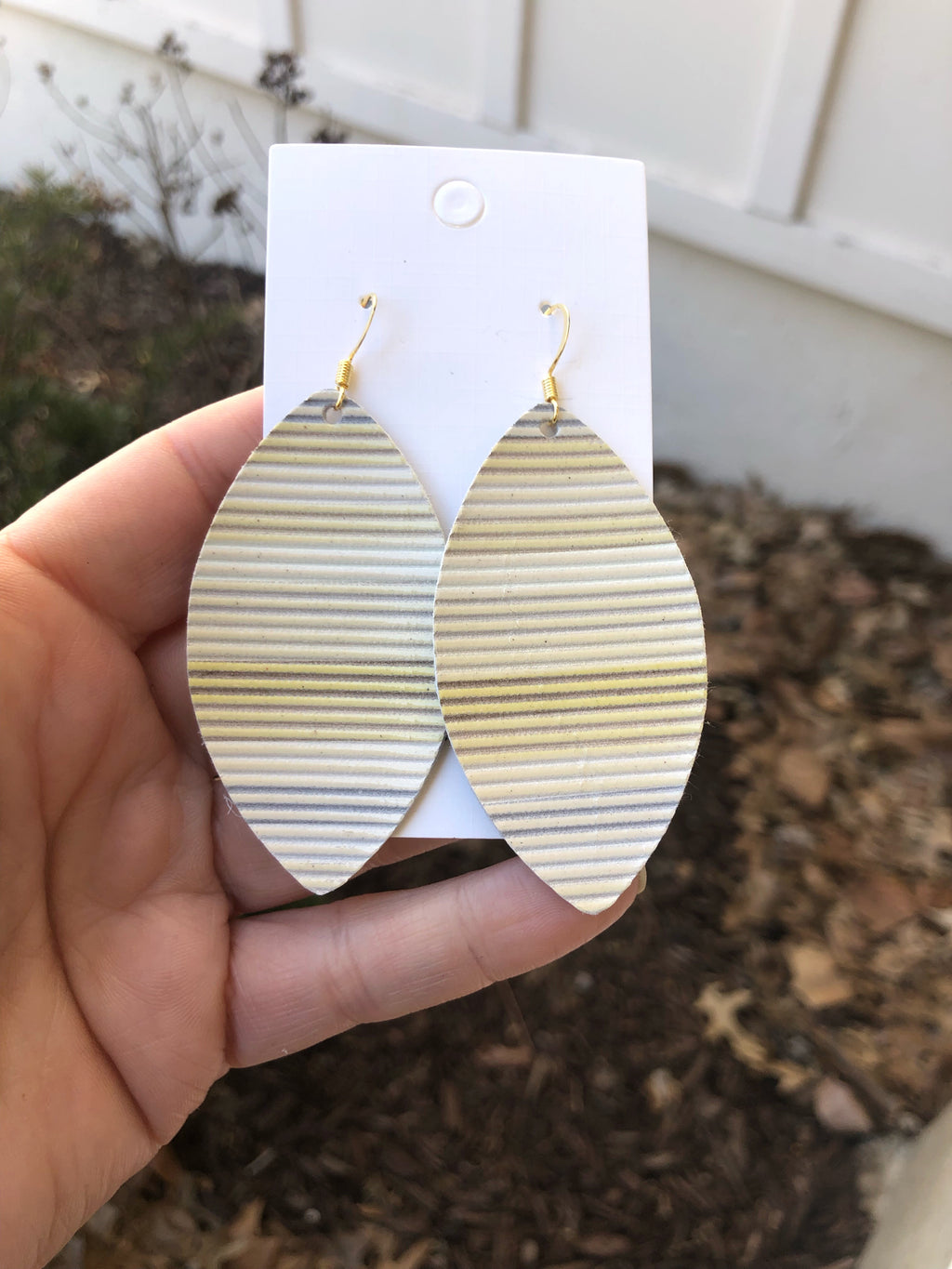 Yellow Pastel Stripe Leather Marquis Earrings