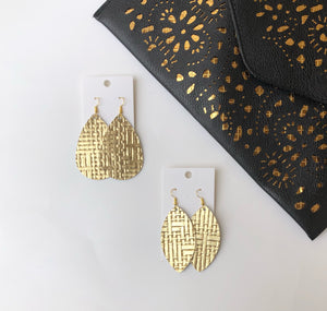 Gold Basketweave Woven  Teardrop Drop Leather Earrings