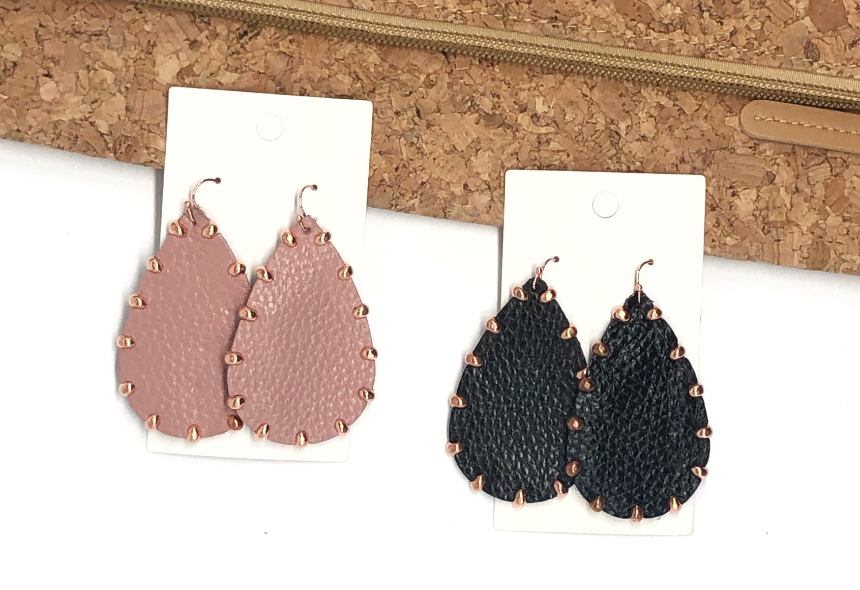 Pink or Black Studded Leather Earrings