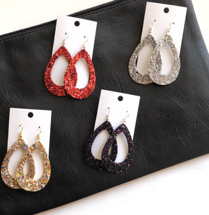 Black Multi-Color Glitter Silhouette Cutout Teardrops