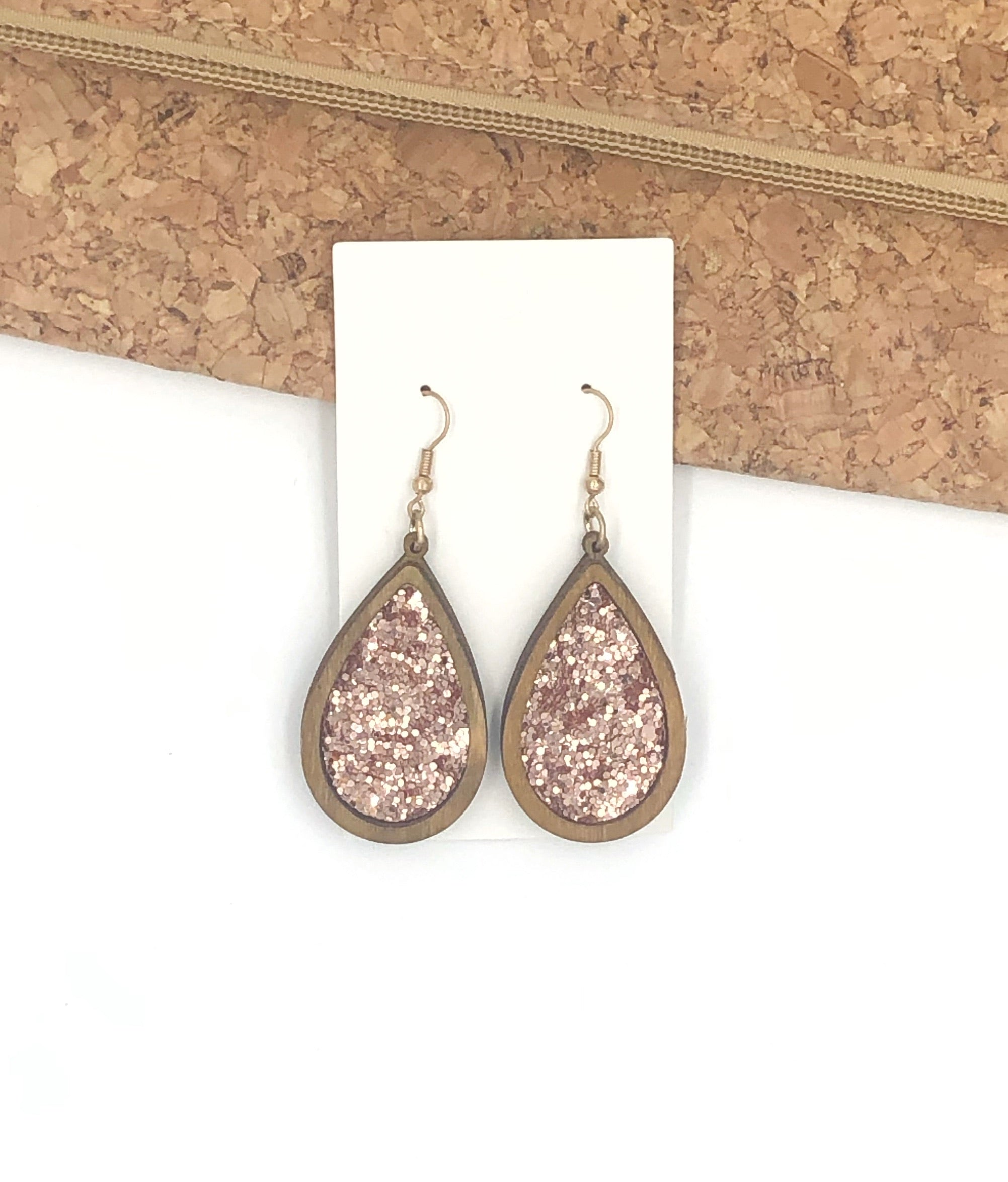 Rose Gold Glitter Encased Wood Teardrop