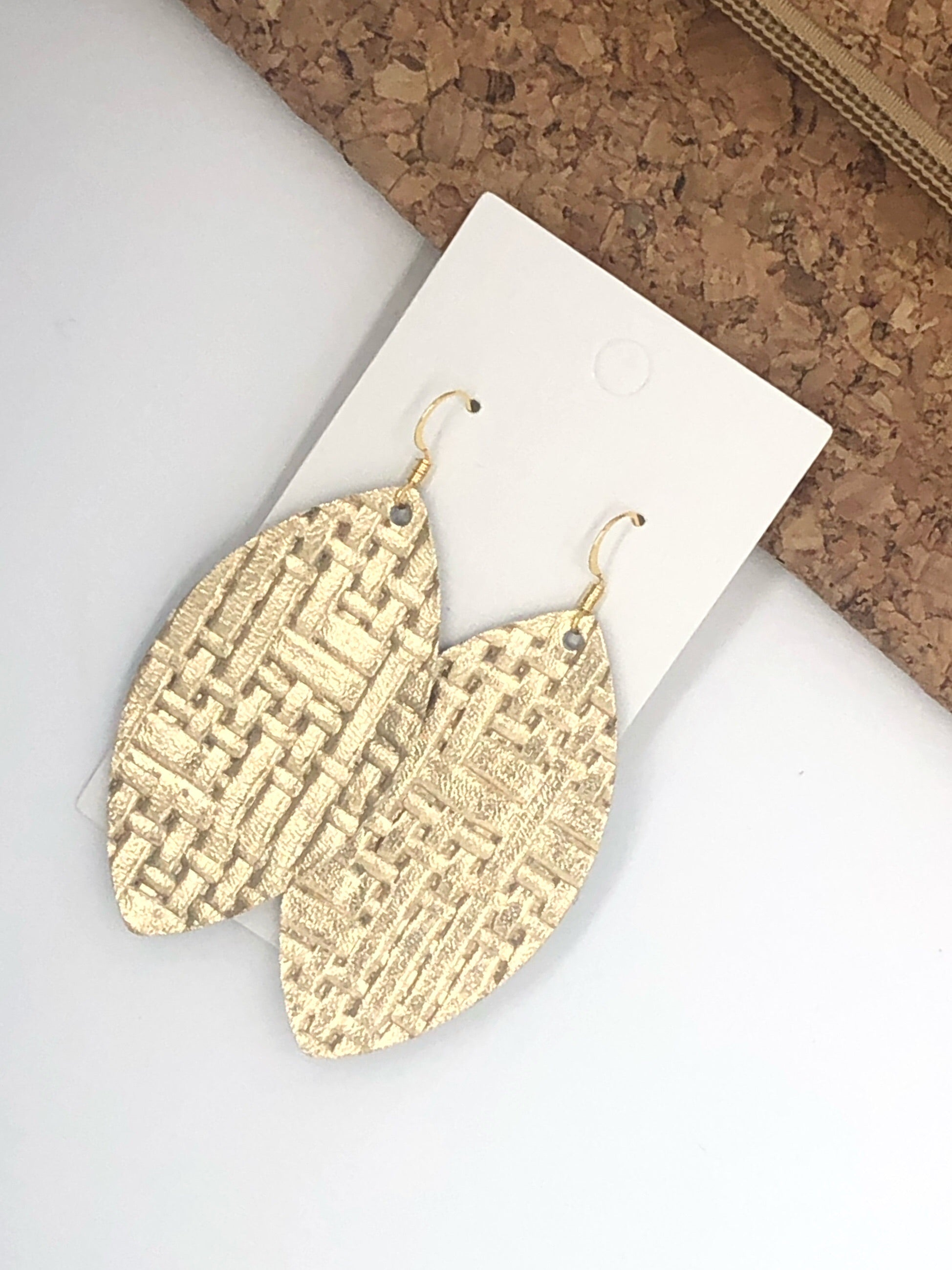 Gold Basketweave Marquis Drop Leather Earrings