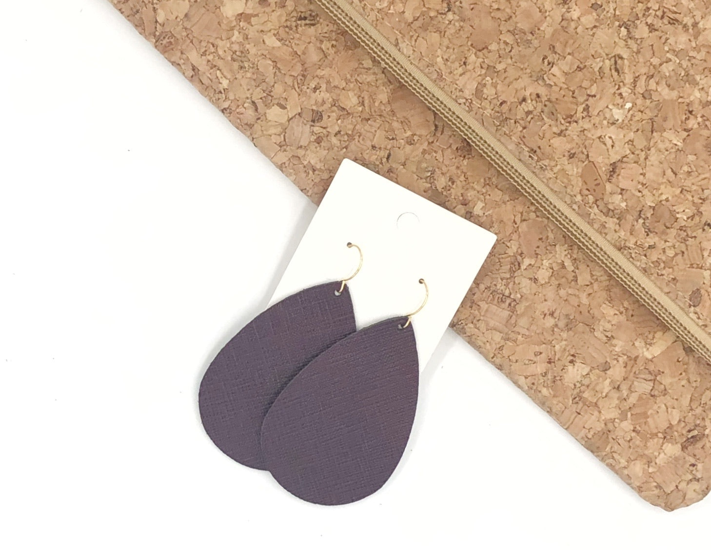 Mulberry Saffiano Leather Teardrop Drop Earrings