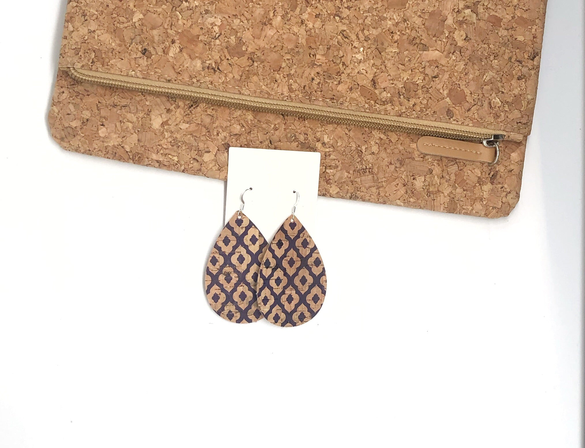 Navy Blue Quatrefoil Corkleather Teardrop