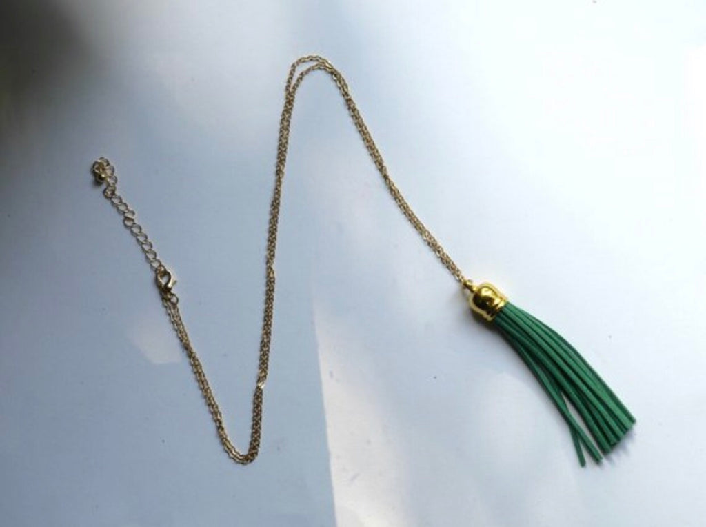 Green Gold Tassel Necklace