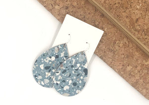 Blue Mosaic Corkleather Bonded with Leather Teardrop