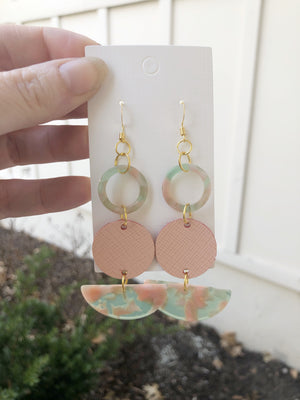Peach and Mint Leather and Acrylic Art Deco Drops