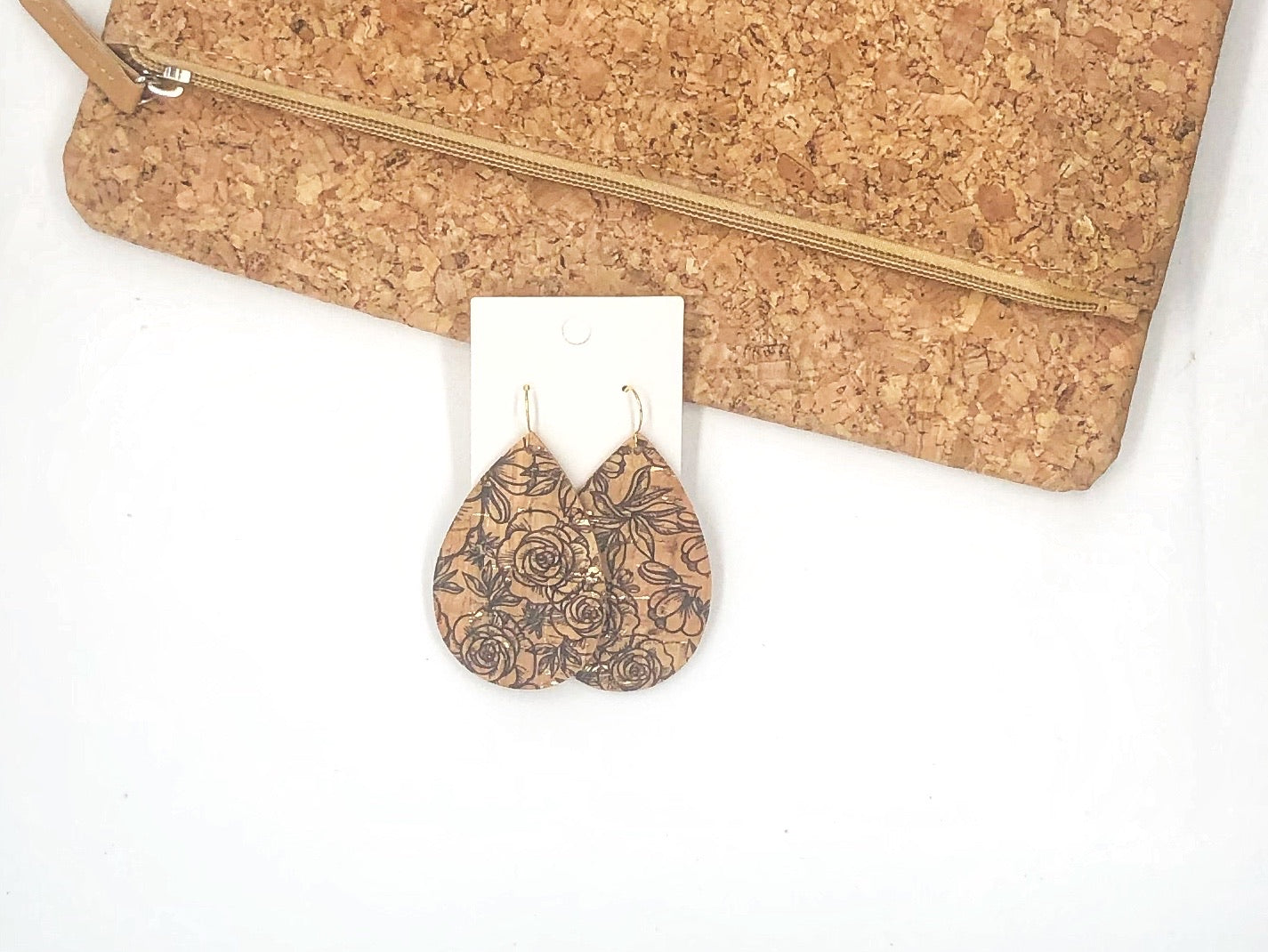 Etched Cork Bonded with Leather Teardrop