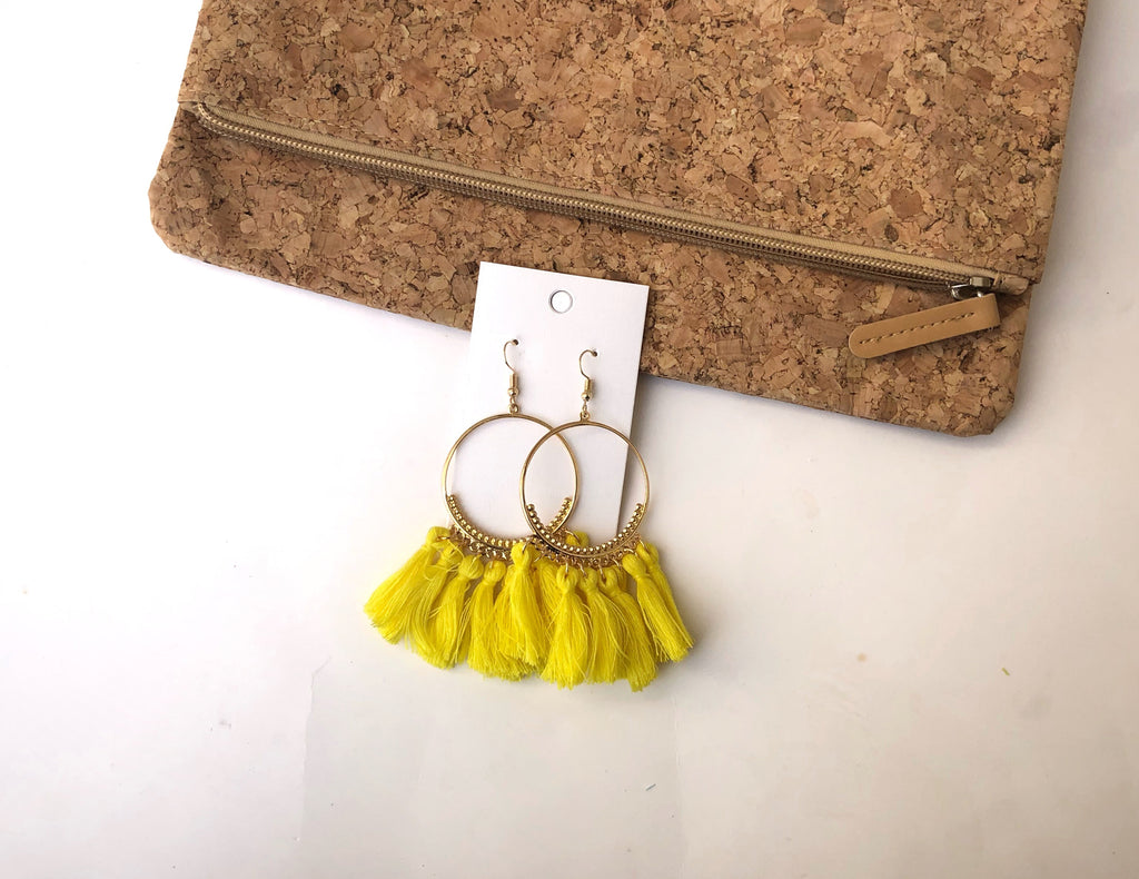 Yellow Circle Tassel Earrings
