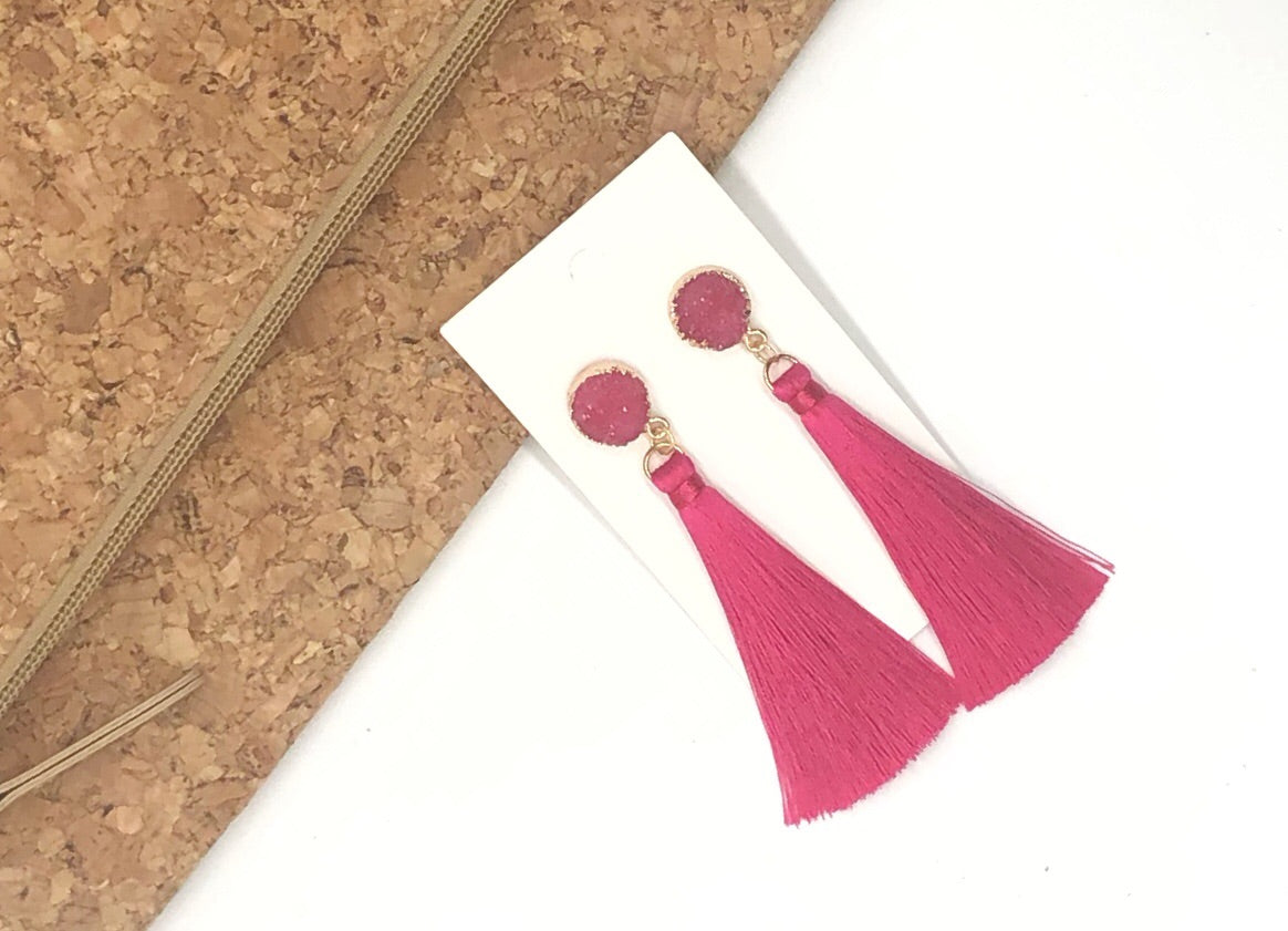 Pink Druzy Tassel Earrings
